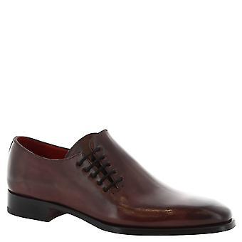 Leonardo Shoes Man's handmade lace ups shoes in bordeaux calf leather