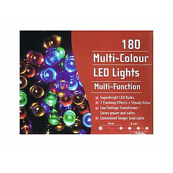 Indoor/Outdoor Chaser Bright Led 180 Bulb Lights Multi-Coloured - With Wire Hanging Hooks - (XA1962)