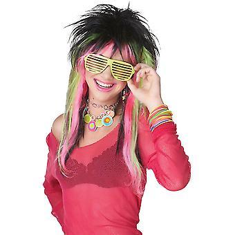 Rave Candy 80s calce nero rosa a strati donne Costume parrucca