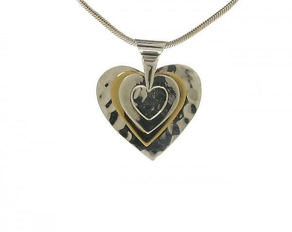 Cavendish French All the Hearts' Silver and Gold Vermeil Pendant without Chain