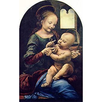 Madonna with a Flower, LEONARDO da Vinci, 60x37cm