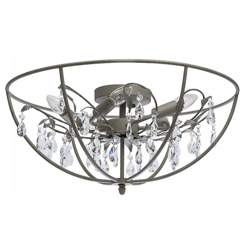 5 Light Semi Flush Ceiling Light gris With Crystals