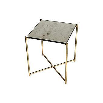 Gillmore Space Antiqued Vetro Tavolo laterale con base in ottone croce