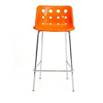 Loft Robin Day 4 Gamba Arancione Arancione Luminosa Plastica Polo Bar Sgabello