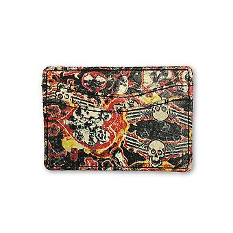 Leather Island card holder red/yellow/black