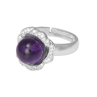 Eternal Collection Supreme Amethyst And Cubic Zirconia Sterling Silver Adjustable Ring