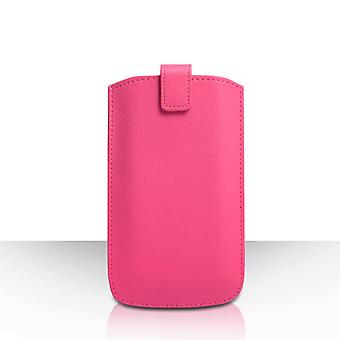 Caseflex Large Textured Faux Leather Return Phone Pouch Pink