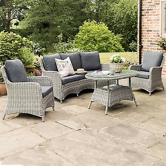 Norfolk Leisure Handpicked Lynford Grey Rattan Curved 3 Seat Sofa Set with Armchairs