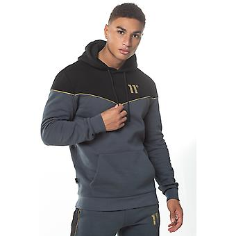 11 Degrees Piping Pull Over Hoodie - Black/Anthracite/Gold