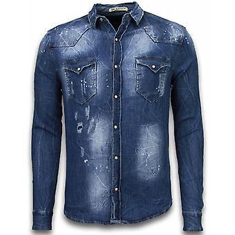 Denim Shirt-Nail Blouse Slim Fit Long Sleeve-Vintage Look-Blue