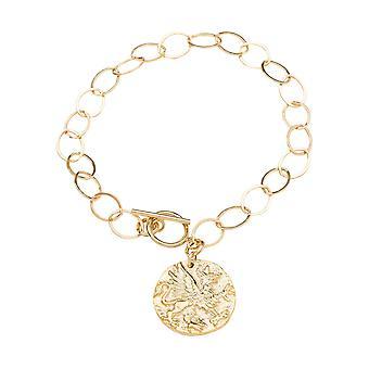 Gemshine Bracelet Coin Pendant Pegasus Horse 925 Silver or Noble Gold Plated