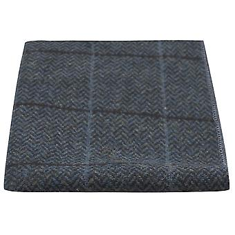 Luxe Egeïsche zee blauw Herringbone Check zak plein, zakdoek, Tweed