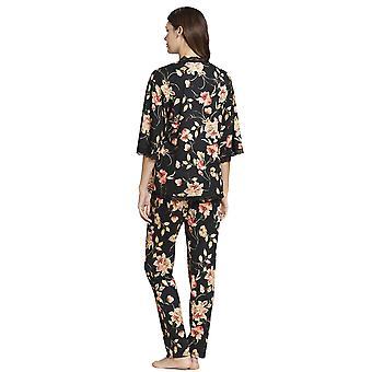 Rosch 1193619-16403 Women's New Romance Black Floral Cotton Pyjama Set