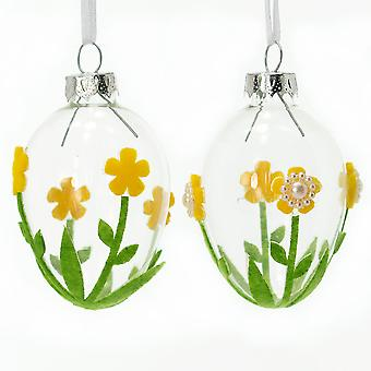 7cm Glass Bauble with Flowers for Easter Trees | Easter Trees & Ornaments
