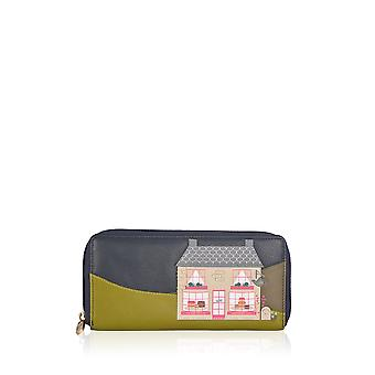 The Lakes Cake Shop Leather Zip Around Purse in Navy