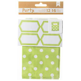 DIY Party Treat Bags & Labels-Green & White 369840