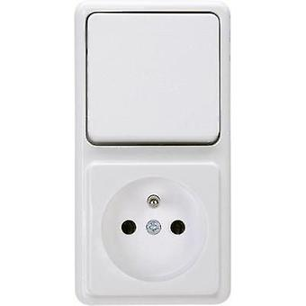 Kopp Switch/socket combo Standard surface-mount Arctic white 109002004