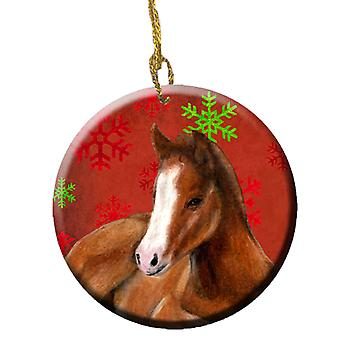 Horse Foal Red Snowflakes Holiday Christmas  Ceramic Ornament SB3120CO1
