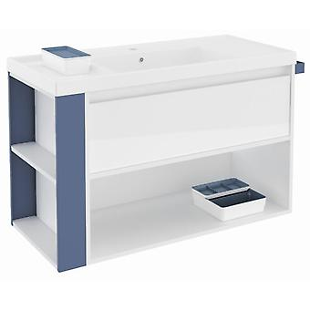 Bath+ 1 Drawer Cabinet + Shelf With Gloss White Resin Basin Blue 100cm