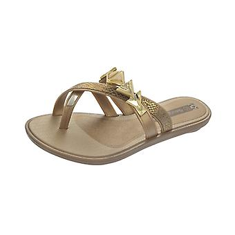 Grendha Glamour Thong Womens Sandals - Gold Snake