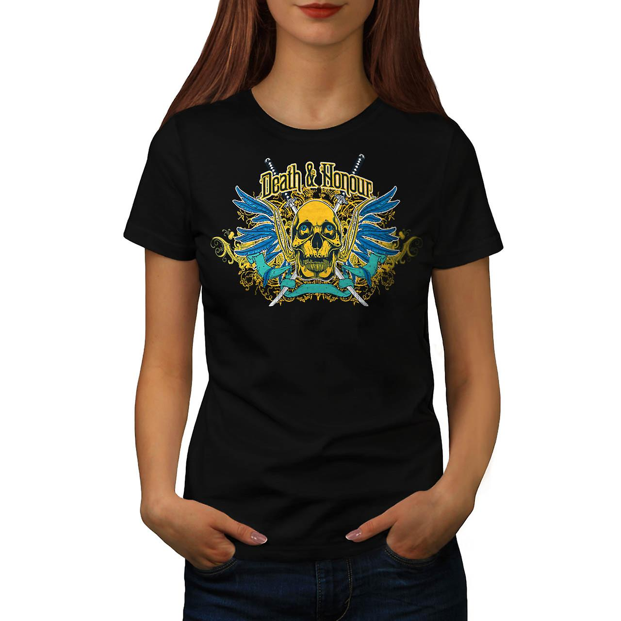 Death And Honour Fear Skull Head Women Black T-shirt | Wellcoda