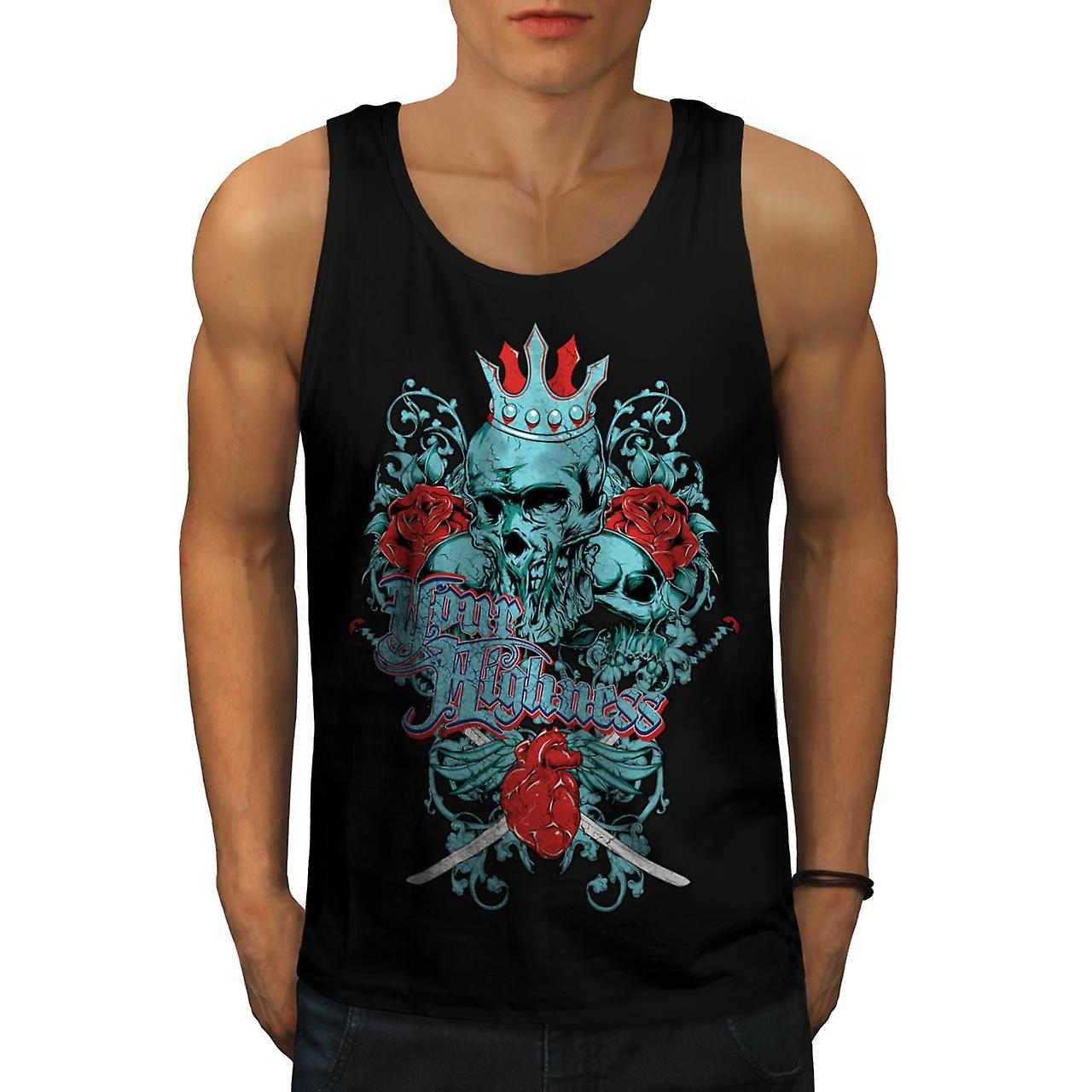 Your Highness Horror Heart Break Men Black Tank Top | Wellcoda