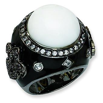 Black-plated Sterling Silver Enamel Simulated White Agate and CZ Ring - Ring Size: 6 to 8