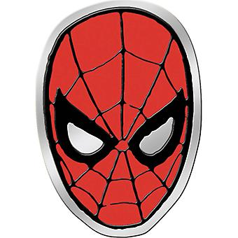 Marvel Licensed Heavy Duty Embossed Metal Sticker-Spider-Man Mask 2.25