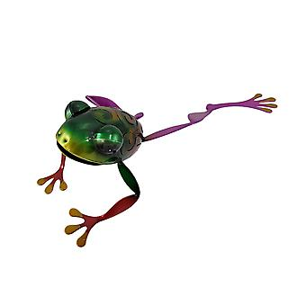Adorable Multicolor Stretching Tree Frog Metal Statue