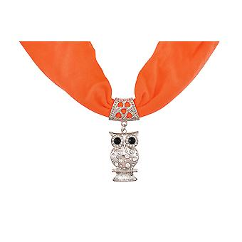 Neon Orange Rhinestone Owl Pendant Scarf Jewelry