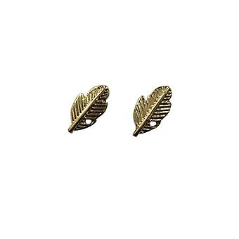 Minimalist statement earrings golden feathers