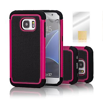 32nd Shock proof case + stylus for Samsung Galaxy S7 (SM-G930) - Hot Pink