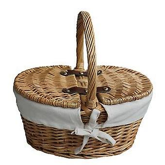 Child's Oval Lined Lidded Empty Picnic Hamper