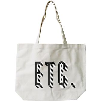 Etc. Graphic Printed Canvas Natural Bag Trendy Canvas Tote Book Bag