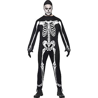 Skeleton jumpsuit costume, black