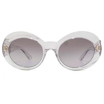 Versace Medusa Coin Temple Oval Sunglasses In Crystal