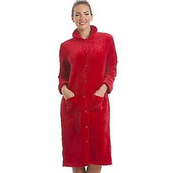 Camille Luxury Supersoft Red Button Up Fleece Housecoat