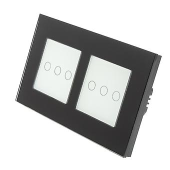 I LumoS Black Glass Double Frame 6 Gang 1 Way Touch LED Light Switch White Insert
