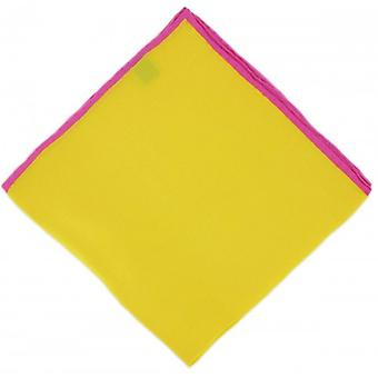 Michelsons of London Shoestring Border Handkerchief - Yellow/Pink