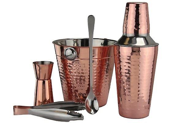 COOPER COCKTAIL SET GREAT FOR BAR RESTAURANT OR HOME BARISTA STARTER SET CONTENTS ICE BUCKET JIGGER ICE TONGS MIXING SPOON 3 PIECE SHAKER SET SIZE 17.5(H)X15(W)X15(D) CM