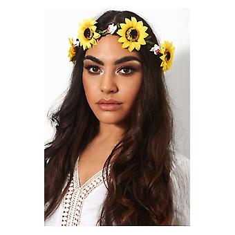 The Fashion Bible Large Yellow Sunflower Festival Hairband