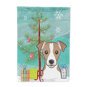 Christmas Tree and Jack Russell Terrier Flag Canvas House Size