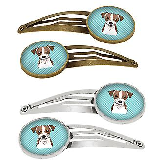 Checkerboard Blue Jack Russell Terrier Set of 4 Barrettes Hair Clips