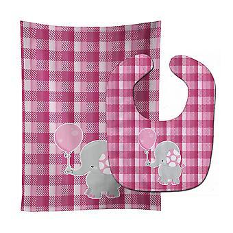 Carolines tesouros BB6948STBU elefante com balão rosa bebê Bib & arroto pano