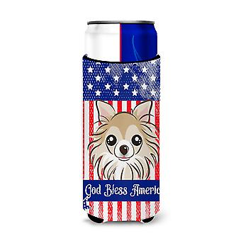 God Bless American Flag with Chihuahua Michelob Ultra beverage Insulator for sli