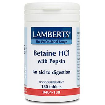 Lamberts Betaine HCl 324mg/Pepsin 5mg, 180 tablets
