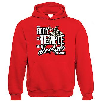 Vectorbomb, If the Body is a Temple, Mens Tattoo Art Hoodie (S to 5XL)