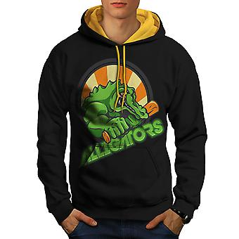Alligator bête Animal hommes noir (capot or) contraste Hoodie | Wellcoda