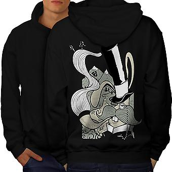 Hippie Smoking Men BlackHoodie Back | Wellcoda