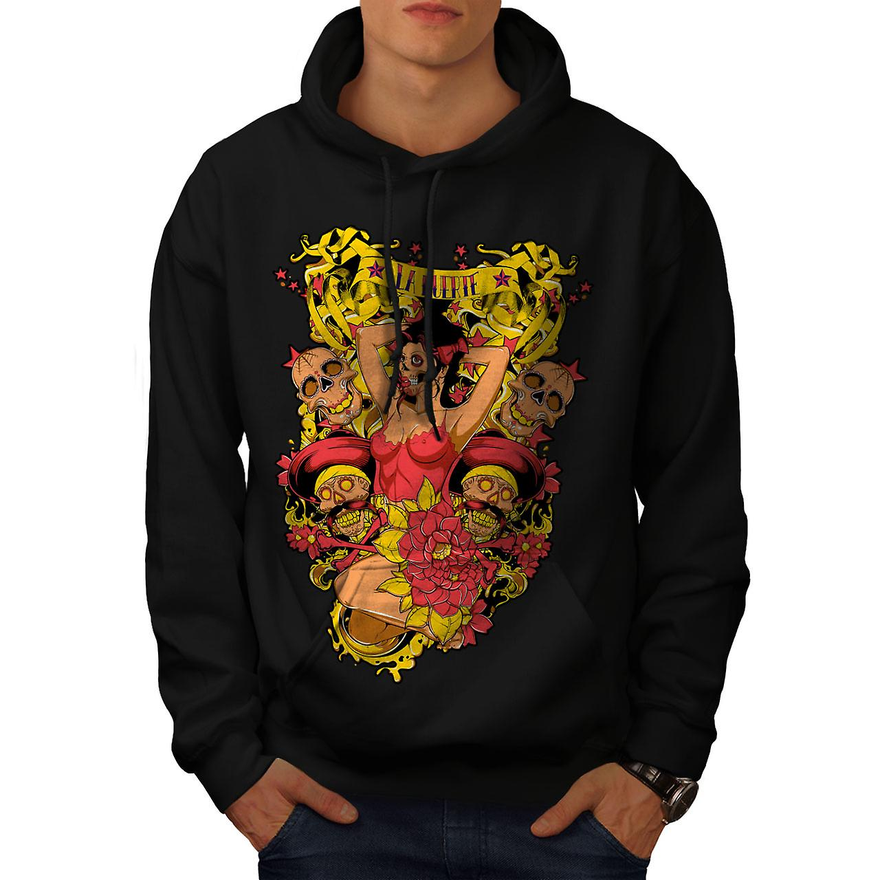 La Muerte Sexy Hot Zombie Men Black Hoodie | Wellcoda